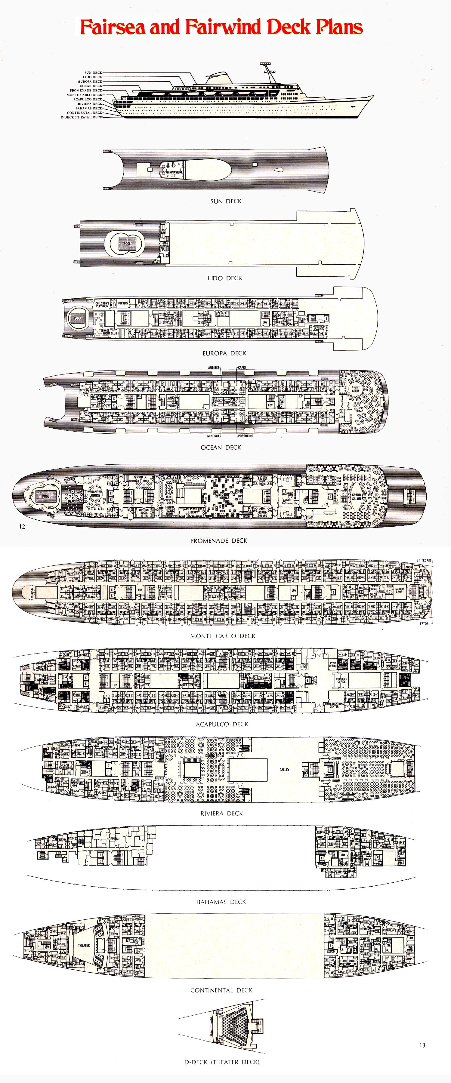 Sitrmar cruises tss fairsea fairwind of 1971 72 deck plans baanklon Gallery