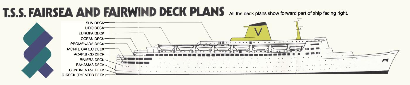 Sitrmar Cruises TSS Fairsea Fairwind of 1971 72 Deck Plans