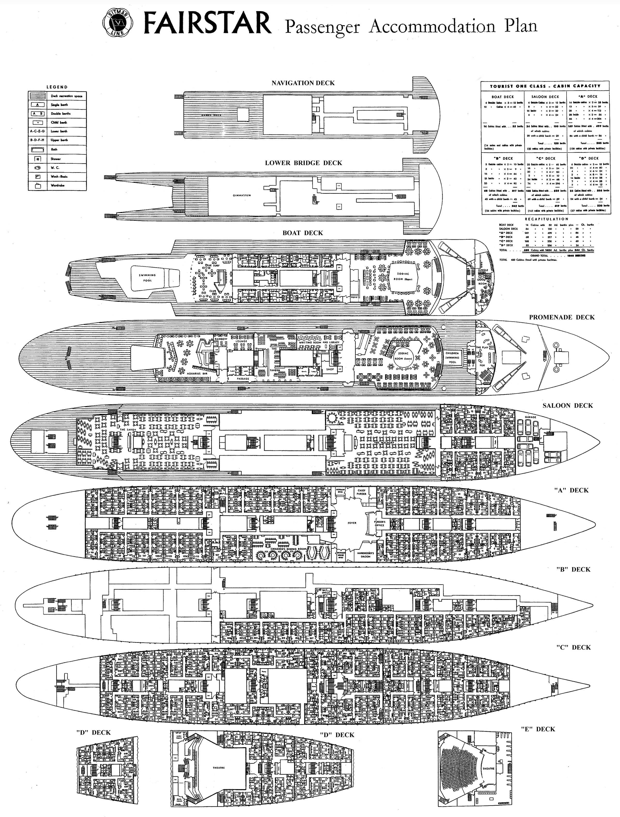 ocean liner deck plan