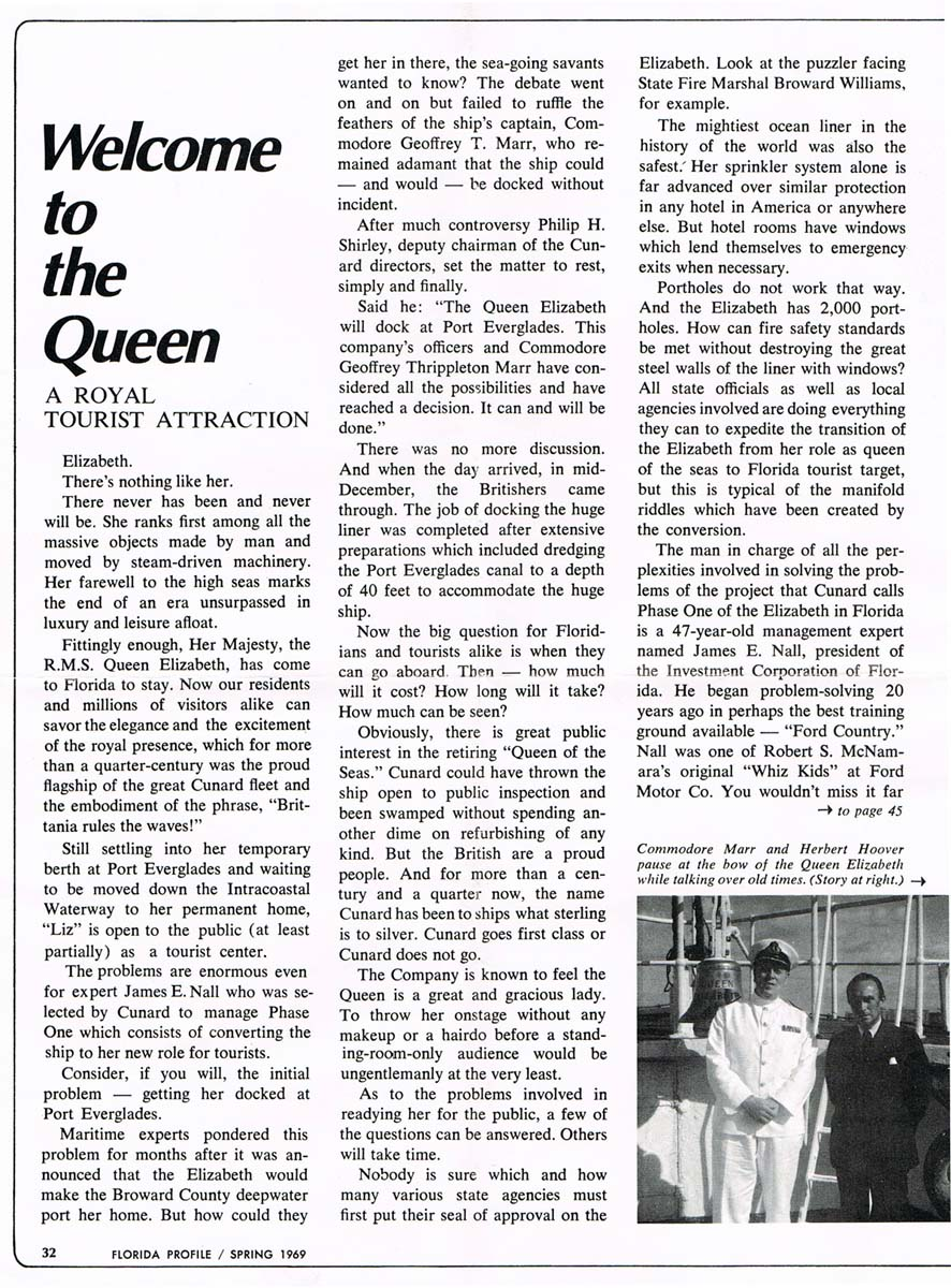 Rms quen elizabeth 1939 page one of an article in the florida profile issued in march or may 1969 baanklon Gallery