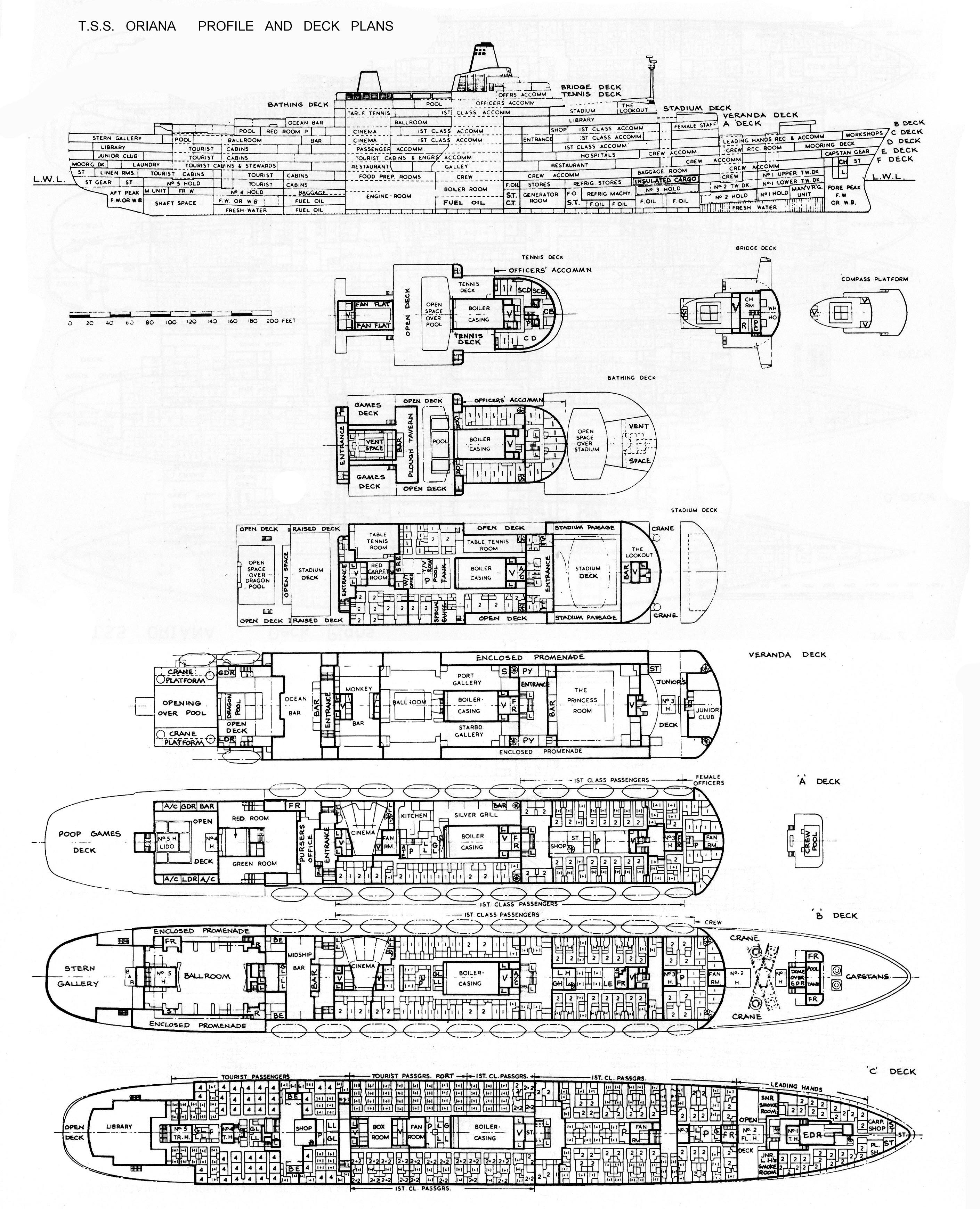 Building ss oriana plans and more c deck reveals the very first ever court cabins enabling four inside court cabins to be slightly staggered and have slender windows thus a view and baanklon Gallery