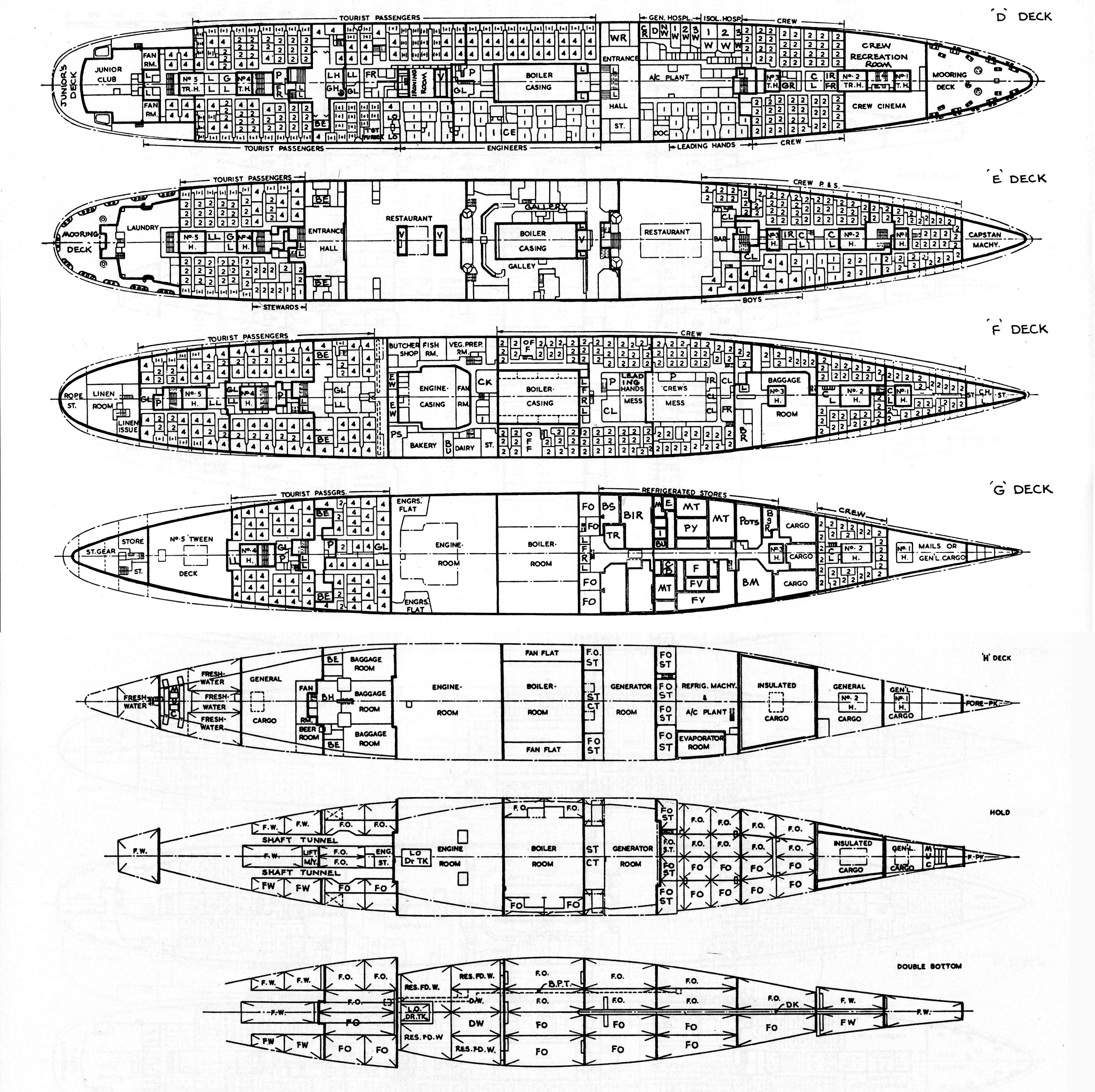 Building ss oriana plans and more a starboard side view of her layout baanklon Gallery