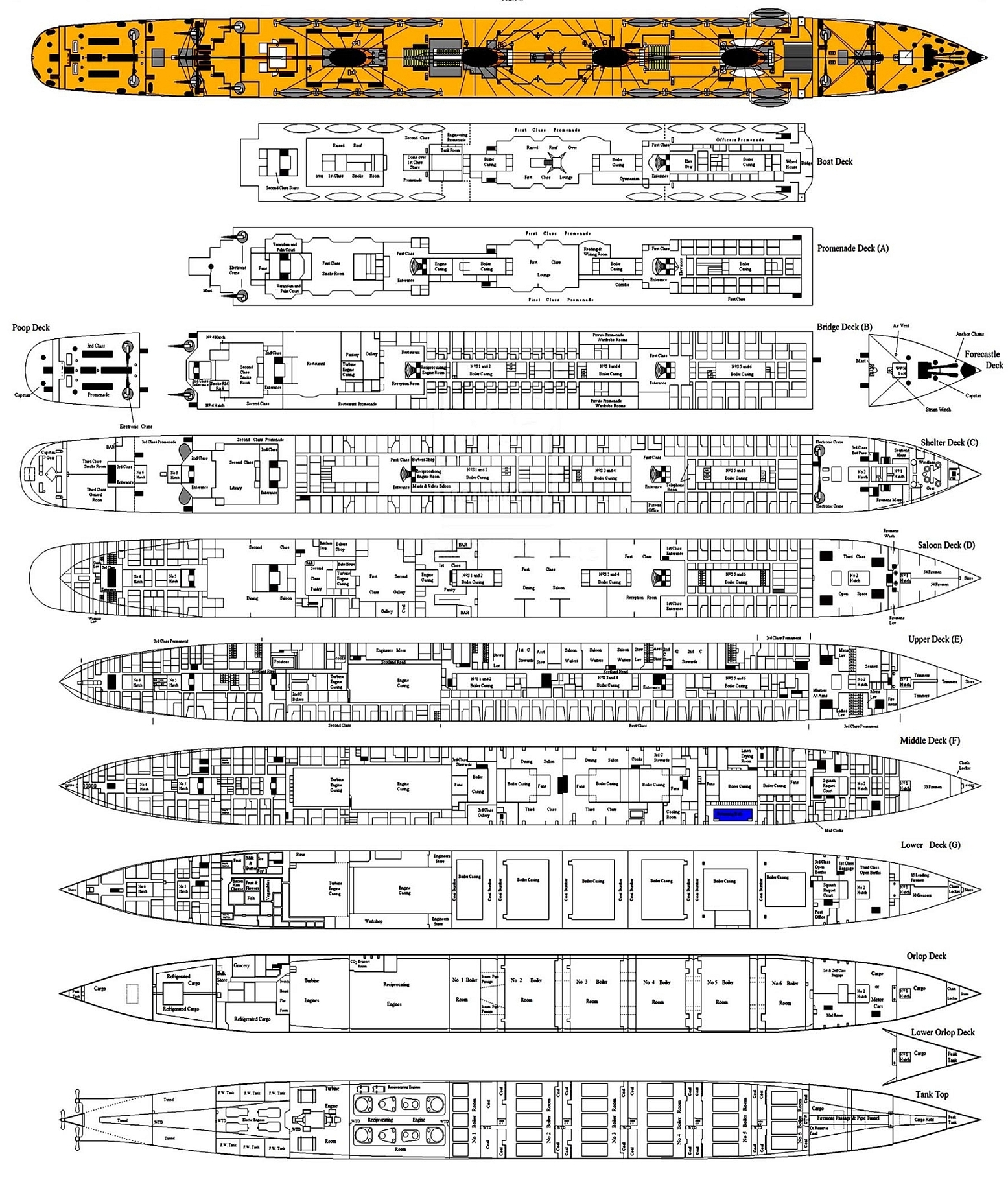 Deck Floor Plan Rms Titanic Page Three Her Full Deck Plan